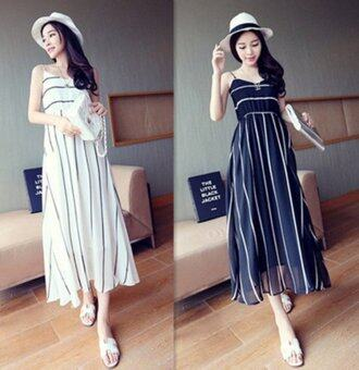 Harga Women summer sleeveless sling stripe chiffon black maxi dress - intl