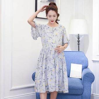 Harga Small Wow Maternity Korean Round Print chiffon Above Knee Dress Multicolor - intl