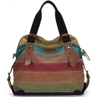 Harga wonderful story Big Size: 37x36x15cm กระเป๋าแฟชั่น กระเป๋า Big Canvas bag Rainbow Fashion Women Bag