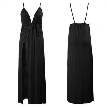 "Harga C187 Fashion Summer ""Women 's Black Long Dress Backless Long Maxi Party Club Dress - intl"