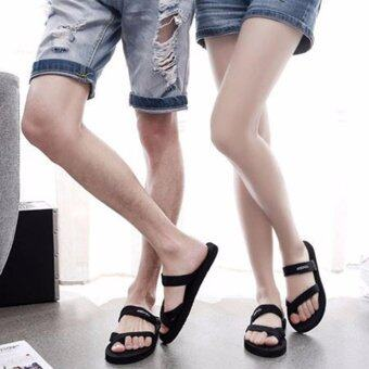 Harga YingWei Summer Fashion PU Shoes Anti Slip Clip Drag Flip Flops Solid Color Couple Sandals Black - intl