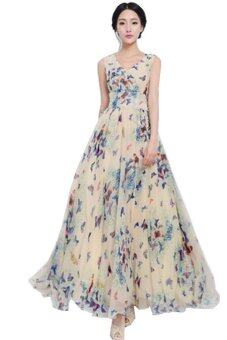 Harga Hang-Qiao Butterfly Print Long Maxi Dress Multicolor