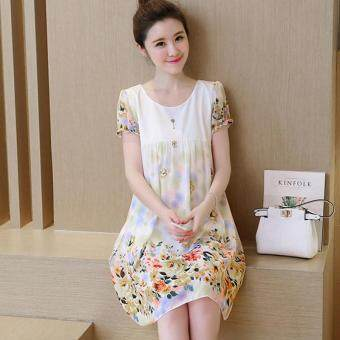 Harga Small Wow Maternity Daily Round Print chiffon Loose Above Knee Dress Yellow - intl