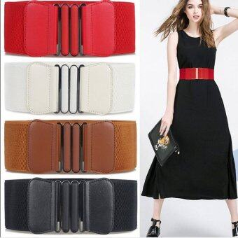 Harga Hanyu Fashion Lady Bow Buckle Elastic Waist Belt Lady Waistband Black - intl