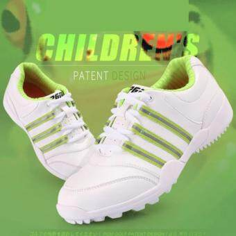 Harga EXCEED รองเท้ากอล์ฟ PGM KIDS SHOES WHITE-GREEN COLOUE XZ056 สีขาวแถบเขียว SIZE EU: 30 - EU: 37