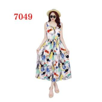 Harga Double J Women's Long Maxi Dress Casual Floral Dress Sleeveless O-neck - intl