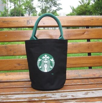 Japan's Starbucks BAG canvas tote bag bag bag bag box singles Lunch Bags - male No black bag zipper accessories - intl