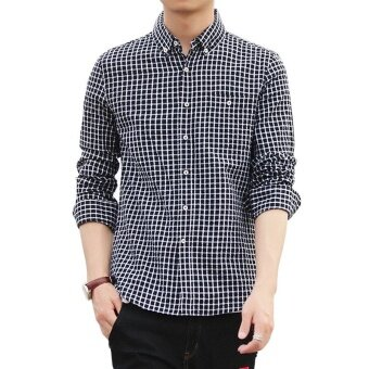 Harga Jent New Style Business Shirt Small Plaid Long Sleeve 100% CottonCasual Shirt(Black) - intl