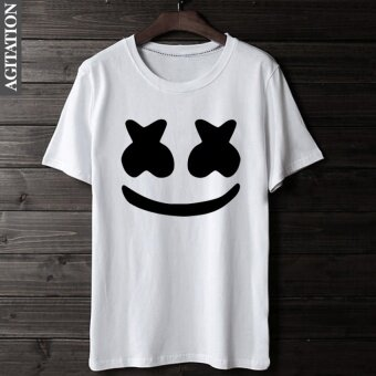 JHS Summer Fashion New Mens T-Shirt Marshmello Music Pattern Printedcotton Casual Blouse (White) - intl