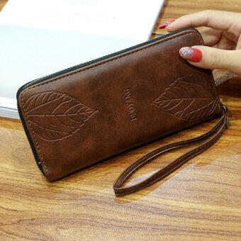 Jianyue ใหม่ซิปกระเป๋าสตางค์ของความจุขนาดใหญ่กระเป๋าสตางค์ยาว (สีน้ำตาล)