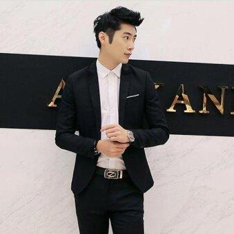 JOY Fashion casual suit Jacket Loose coat Black - intl - 3