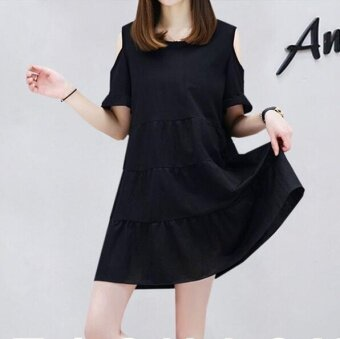 Harga JOY Korea Korean fashion large size A word dress Black - intl