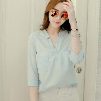 JOY Korea Korean fashion loose V collar chiffon shirt-Blue - intl