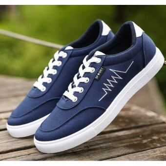 Harga JOY Korea Korean fashion Men's casual canvas shoes Blue