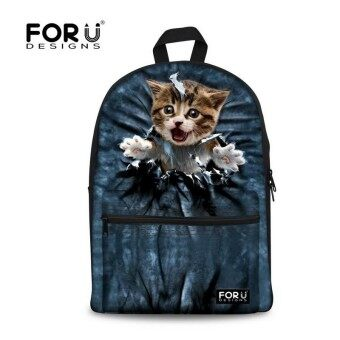 Kawaii Teenager Girls Backpack 3D Animal Cat Printing Children Backpack for Kids Casual Women School Book Bag Sac a Dos - intl