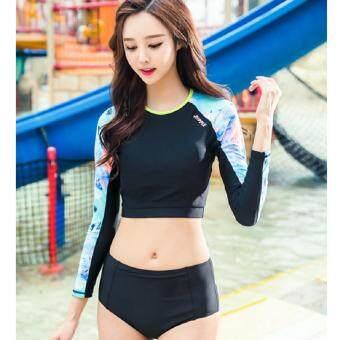 kk 8215 1488966982 73670231 fe84e9f97cc48a65205d6ea8539941d4 product ขายถูก KK ชุดว่ายน้ำ ชุดเล่นกีฬาในน้ำ ชุดเอวลอย  เสื้อแขนยาว กางเกงขายาว กางเกงใน   สีดำ  รุ่น 8215