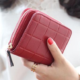Korea กระเป๋าสตางค์ ผู้หญิง ใบสั้นมีช่องใส่เหรียญ หนัง รุ่นB099-9-F(สีแดงอัดลาย)