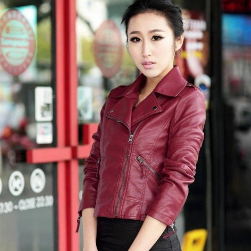 Korean Style Grandwish Women Turn Down Collar Leather Jackets Slim PU Leather Coat S-4XL (Red) - intl