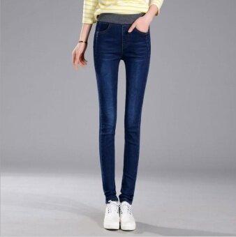 Korean Style Women's Clothing Korean Jeans Elastic Highwaist JeansHigh Waist Jeans Long Pants (Blue) ...