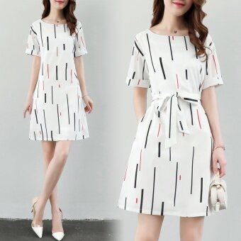 Korean Version of Self-cultivation Slim Printed A Line Dress - intl