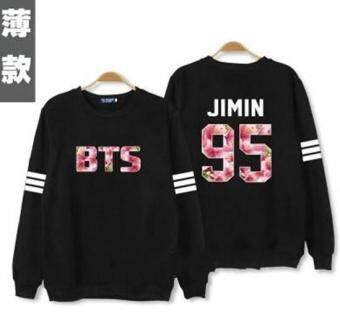 Kpop bts hoodies for men women bangtan boys album floral letter\nprinted fans supportive o neck sweatshirt plus size tracksuits -\nintl