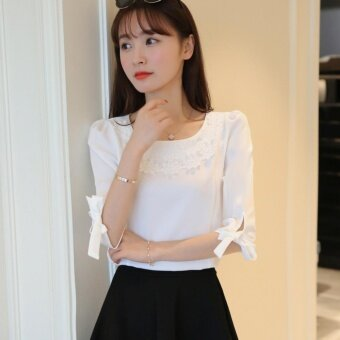 Harga Lace Applique Bubble 1/2 Sleeves White Chiffon Top - intl