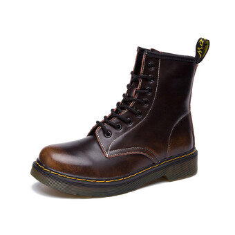 Lace-up Martin Boots 100% Genuine Leather Motorcycle Boots ForWomen&Men Plus Size(Brown)