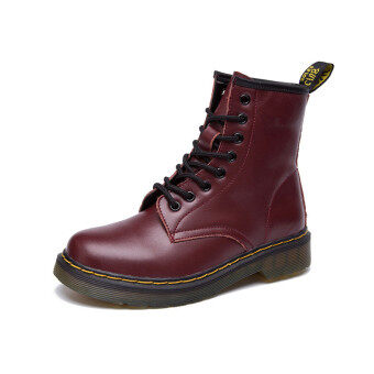Lace-up Martin Boots 100% Genuine Leather Motorcycle Boots ForWomen&Men Plus Size(Red)