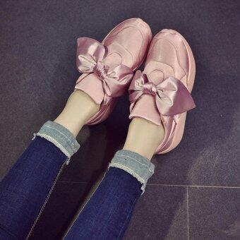 LALANG Big Bow Shoes Casual Shoes Round Shallow Mouth Flat Sneaker(Pink) - intl