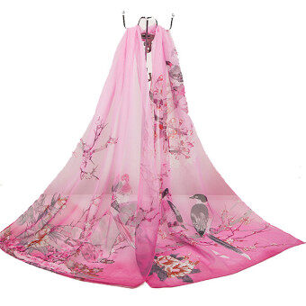 LALANG Chiffon Scarves Flowers Printed Long Scarf (Hotpink) - intl