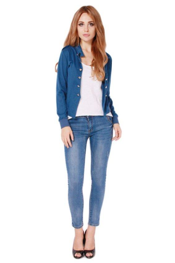 LALANG Women Double-Breasted Short Coat Jacket Blue
