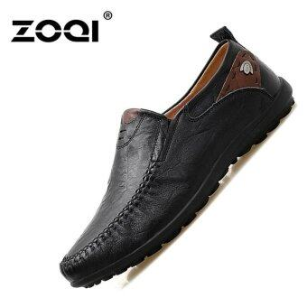 Leather Shoes ZOQI Men's Fashion Casual Shoes Low Cut Formal Shoes(Black) - intl