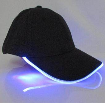 LED Light Glow Club Party Sports Athletic Black Fabric Travel HatCap Blue Light - intl