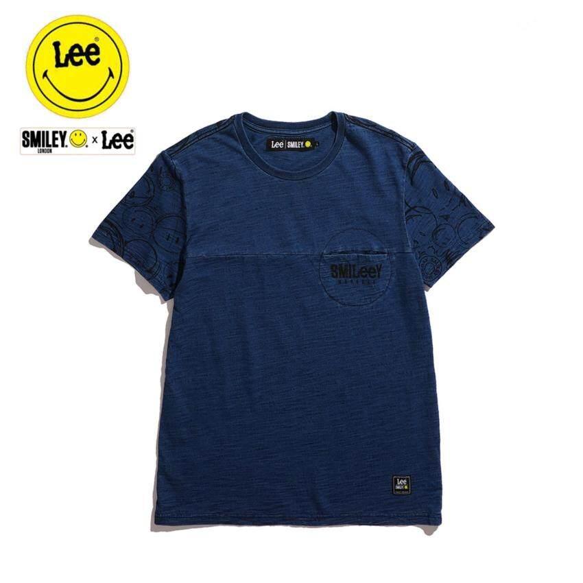 นำเสนอ Lee x Smiley เสื้อยืดคอกลมแขนสั้น รุ่น LE 17001S05 สี INDIG0 สินค้ายอดนิยม