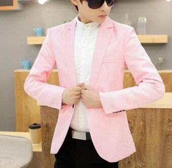 Leyi Men's casual English jacket, long sleeved suit pink