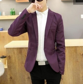 Leyi Men's casual English jacket, long sleeved suit Violet