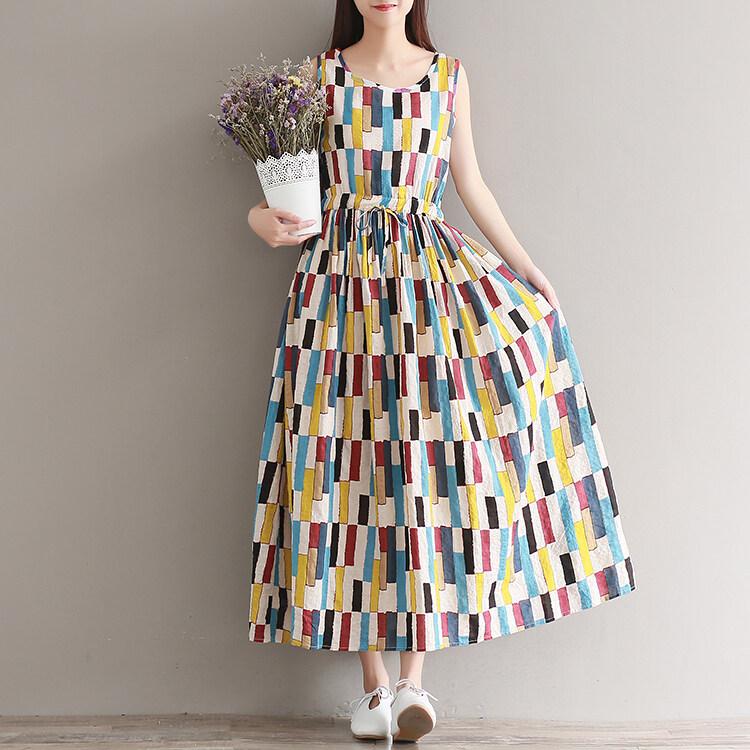 LOOESN วรรณกรรมฤดูร้อนพิมพ์ชุดผ้าฝ้าย (สี)