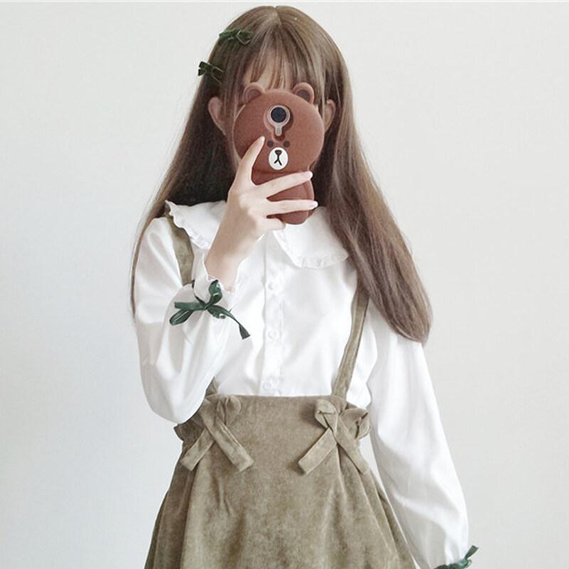 ขาย LOOESN เกาหลีตุ๊กตาคอนักศึกษาเสื้อสลิงกระโปรงเสื้อ (สีขาวเสื้อชิ้นเดียว)