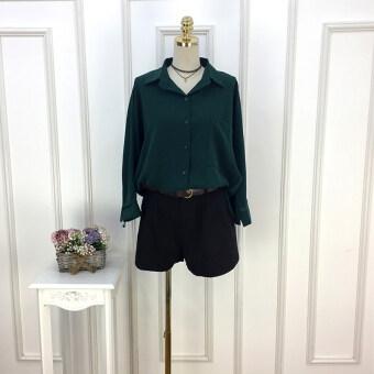 LOOESN เกาหลีสีทึบฤดูใบไม้ร่วงใหม่เสื้อเชิ้ตเสื้อยืด (สีเขียว)