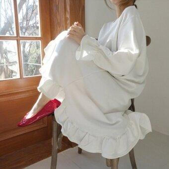 LOOESN เกาหลีฤดูใบไม้ผลิและฤดูใบไม้ร่วงใหม่ชุดคอกลมเสื้อสวมหัวเสื้อกันหนาว (สีขาว)