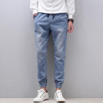 LOOESN ผู้ชายหลาใหญ่ฮาเร็มกางเกงกางเกงยีนส์กางเกง (แสงสีฟ้า)
