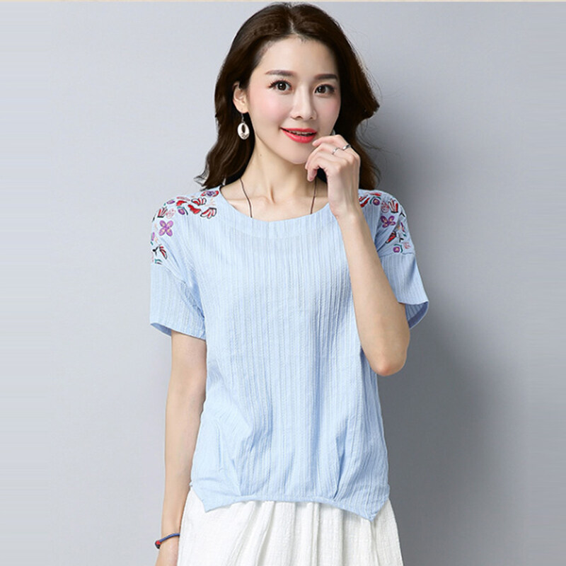LOOESN วรรณกรรมฝ้ายหญิงใหม่ท็อปส์ซูเสื้อยืด (แสงสีฟ้า)