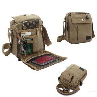LoveSportสไตล์วินเทจผ้าทหาร/ฟังก์ชันที่ส่งกระเป๋าสะพายย่ามท่องเที่ยว(กากี)-ระหว่างประเทศ