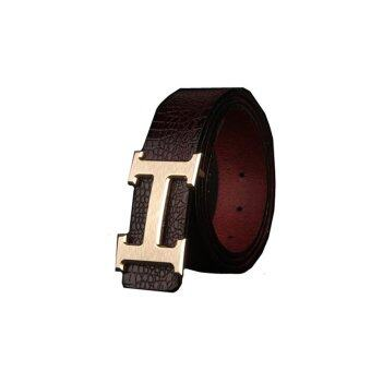 Man's H Letter Buckle Genuine Leather Casual Belt MBT1607-2 coffee