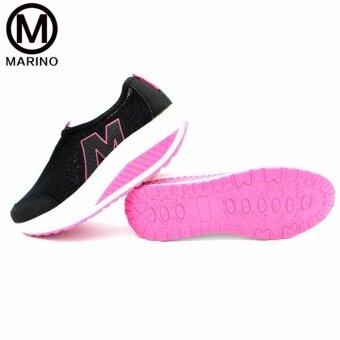 Marino รองเท้าผ้าใบสีดำ รองเท้าเพิ่มความสูงสำหรับผู้หญิง No.A010 - Black/Pink (image 2)