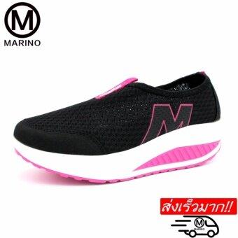 Marino รองเท้าผ้าใบสีดำ รองเท้าเพิ่มความสูงสำหรับผู้หญิง No.A010 - Black/Pink