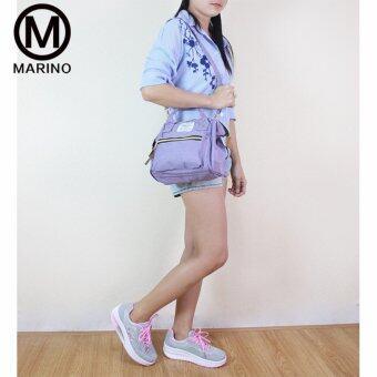 Marino รองเท้าผ้าใบ รองเท้าเพิ่มความสูงสำหรับผู้หญิง No.A013 - Grey/Pink - 5