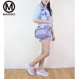 Marino รองเท้าผ้าใบ รองเท้าเพิ่มความสูงสำหรับผู้หญิง No.A013 - Grey/Pink - 4