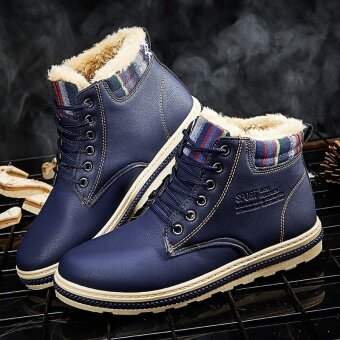 Harga Men Boots Men Snow Boots Fashion Flat Winter Snow Boots Thick PlushAnkle Boots for Men Warm Casual Shoes (Blue) - intl