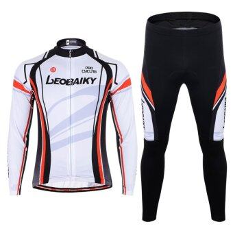 Men Cycling Jersey Gel Padded Pants Set Polyester Quick Dry LongSleeve (White) - intl